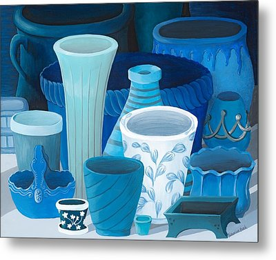 Study In Blue Metal Print by Katherine Young-Beck