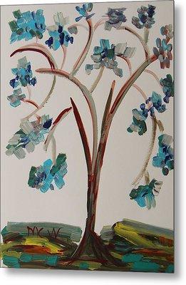 Study Of A Blue Tree Metal Print by Mary Carol Williams