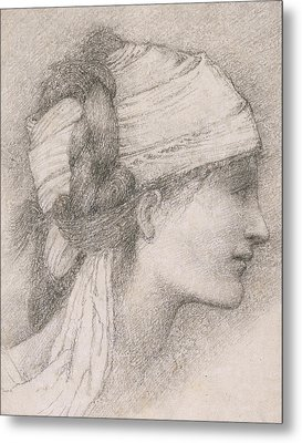 Study Of A Female Head To The Right Metal Print by Sir Edward Coley Burne-Jones