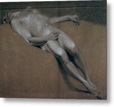 Study Of A Recumbent Male Nude Metal Print
