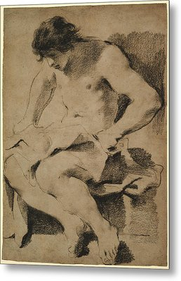 Study Of A Seated Young Man Guercino Giovanni Francesco Metal Print by Litz Collection