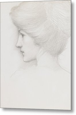 Study Of A Woman's Head Profile To Left Metal Print by Sir Edward Coley Burne-Jones