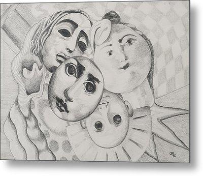 Study Of Faces In Pencil Metal Print