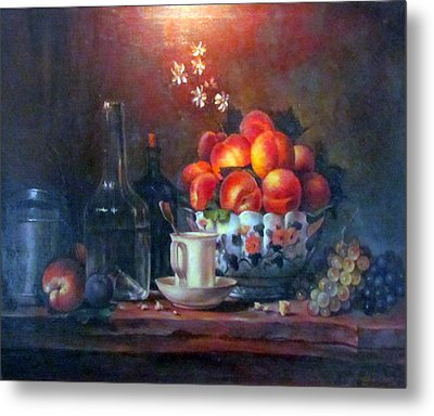 Metal Print featuring the painting Study Of Peaches by Donna Tucker