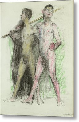 Study Of Two Male Figures  Metal Print