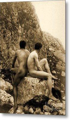 Study Of Two Male Nudes Sitting Back To Back Metal Print by Wilhelm von Gloeden