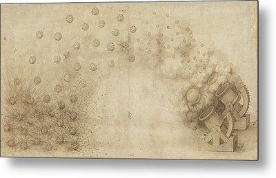 Study Of Two Mortars For Throwing Explosive Bombs From Atlantic Codex Metal Print by Leonardo Da Vinci
