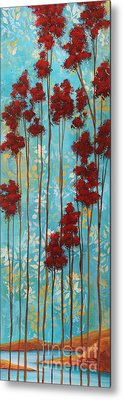 Stunning Abstract Landscape Elegant Trees Floating Dreams I By Megan Duncanson Metal Print by Megan Duncanson