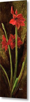 Metal Print featuring the painting Sturdy Blooms by Vic  Mastis