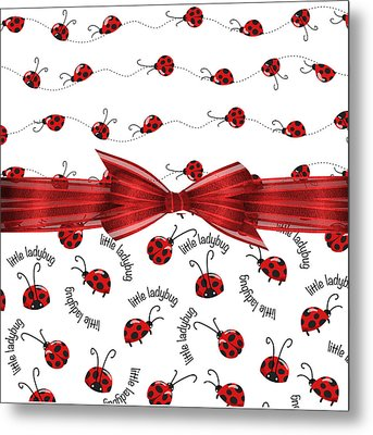Stylish Ladybugs Metal Print by Debra  Miller
