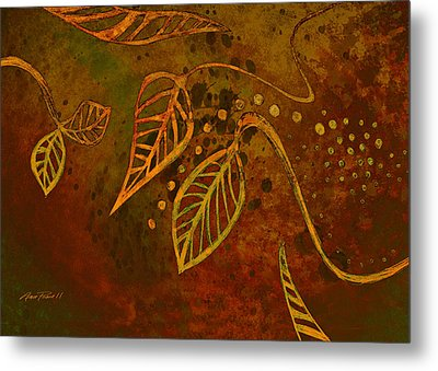Stylized Leaves Abstract Art  Metal Print by Ann Powell