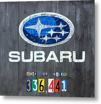 Subaru Logo Art Celebrating 2012 Usa Sales Totals Metal Print by Design Turnpike