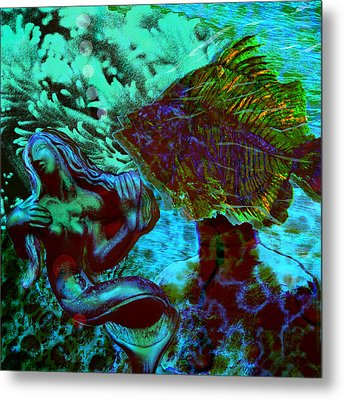 Submerged Courtship Metal Print by Maria Jesus Hernandez