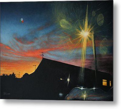 Suburban Sunset Oil On Canvas Metal Print