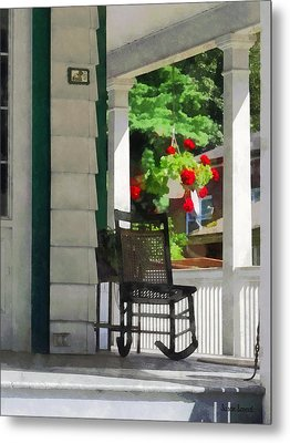 Suburbs - Porch With Rocking Chair And Geraniums Metal Print