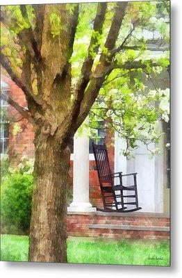 Suburbs - Rocking Chair On Porch Metal Print by Susan Savad