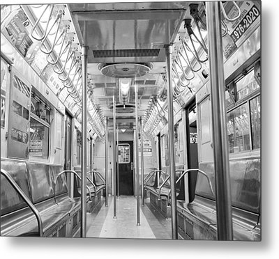 New York City - Subway Car Metal Print by Dave Beckerman