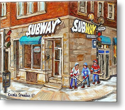 Subway Restaurant Monk Avenue Verdun Montreal Art Winter Hockey Scenes Paintings Carole Spandau Metal Print by Carole Spandau