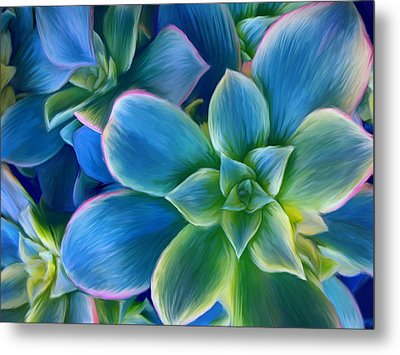 Succulent Blue On Green Metal Print by Sharon Beth