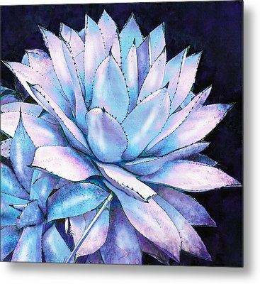 Metal Print featuring the digital art Succulent In Blue And Purple by Jane Schnetlage