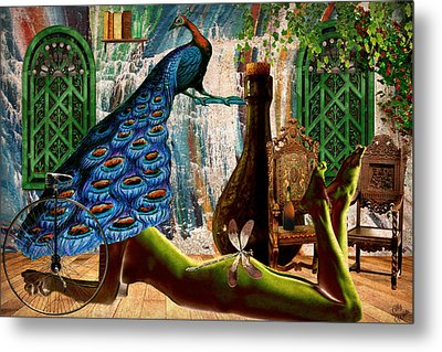 Metal Print featuring the painting Suck My Peacock by Ally  White