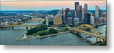 Pink Over The Pittsburgh Skyline Metal Print by Adam Jewell