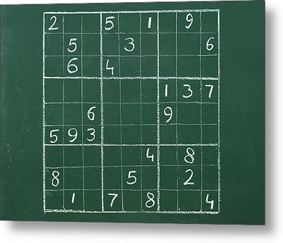 Sudoku On A Chalkboard Metal Print