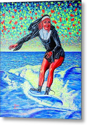 Surfing Nun /god-is Love ...love-is Life/ Metal Print