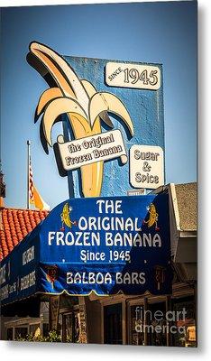 Sugar And Spice Frozen Banana Sign On Balboa Island Metal Print