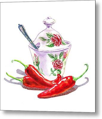 Sugar Bowl With Chili Peppers Metal Print by Irina Sztukowski