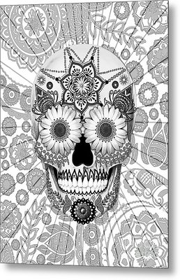 Sugar Skull Bleached Bones - Copyrighted Metal Print by Christopher Beikmann