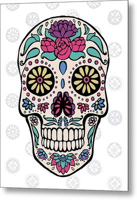 Sugar Skull IIi On Gray Metal Print