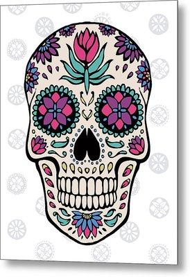 Sugar Skull Iv On Gray Metal Print