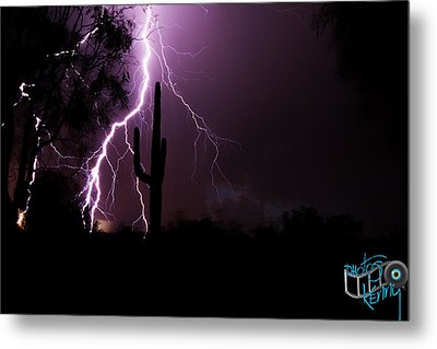 Suguaro Lightning Metal Print by Kenny Jalet
