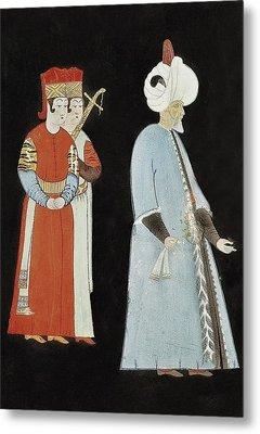 Suleyman I 1494-1566. Suleyman With Two Metal Print by Everett
