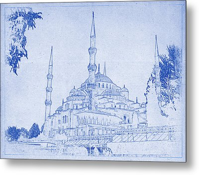 Sultan Ahmed Mosque Istanbul Blueprint Metal Print