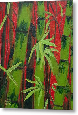 Sultry Bamboo Forest Acrylic Painting Metal Print
