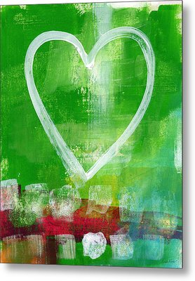 Sumer Love- Abstract Heart Painting Metal Print by Linda Woods