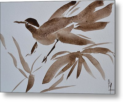 Sumi Bird Metal Print by Beverley Harper Tinsley