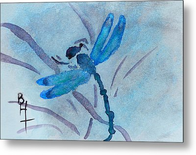 Sumi Dragonfly Metal Print by Beverley Harper Tinsley