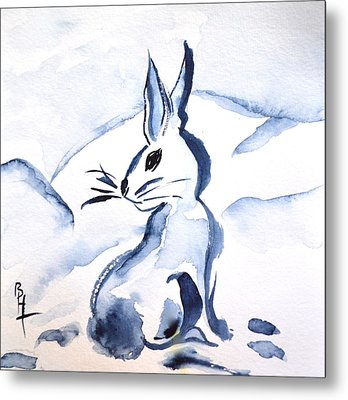 Sumi-e Snow Bunny Metal Print by Beverley Harper Tinsley