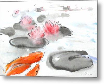 Sumie No.11 Koi Fish And Lotus Flowers Metal Print by Sumiyo Toribe