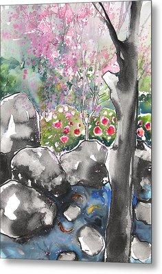 Sumie No.15 Japanese Garden Metal Print by Sumiyo Toribe