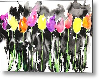 Sumie No.16 Tulips Metal Print by Sumiyo Toribe