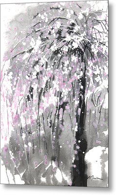 Sumie No.19 Weeping Cherry Blossoms Metal Print