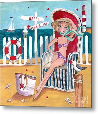 Summer Beach  Metal Print by Caroline Bonne-Muller