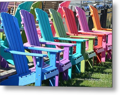 Summer Beach Chairs Metal Print
