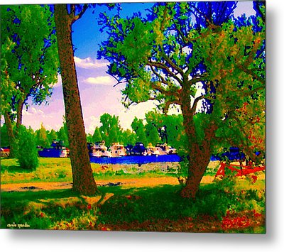 Summer Boats Moored Along Tree Lined Lachine Canal Quebec Landscapes  Montreal Art Carole Spandau Metal Print by Carole Spandau