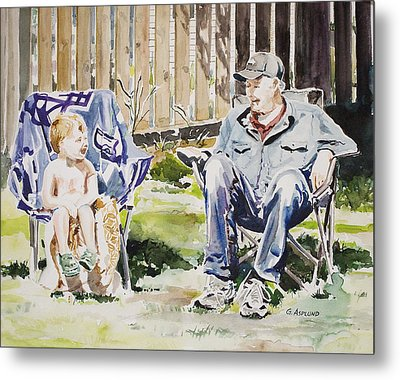 Grandfather  And Grandson Summer Bonding Metal Print
