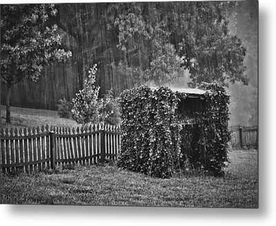 Summer Downpour In B/w Metal Print by Greg Jackson